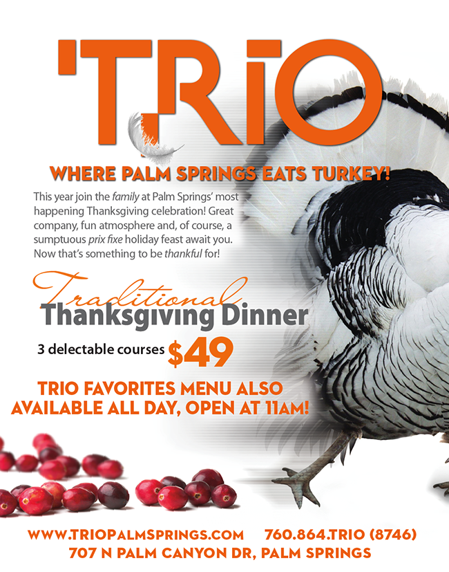 Traditional Thanksgiving Dinner at Trio Restaurant in Palm Springs