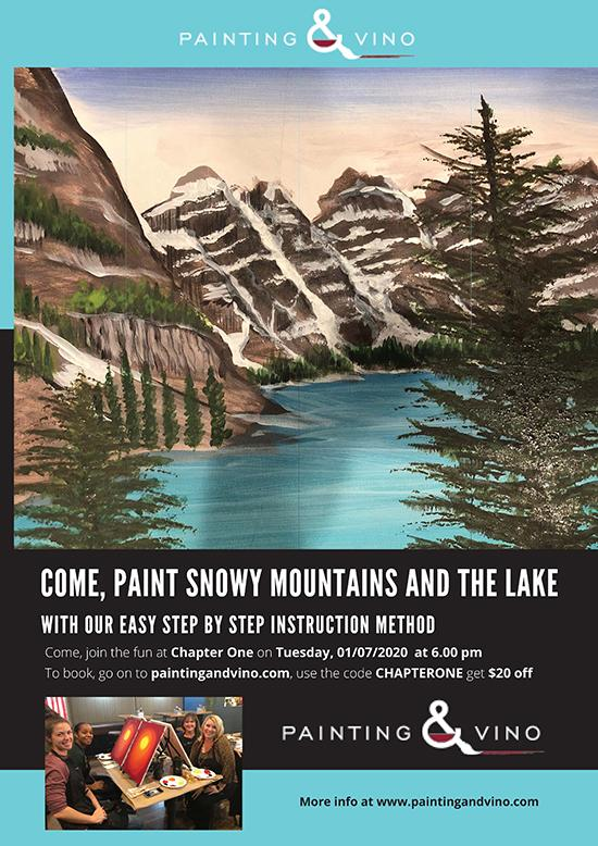 Painting and Vino - Snowy Mountain and the Lake